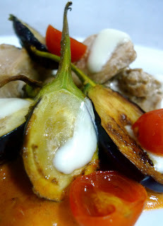 Balsamic Chicken Tenders with Roasted Tomato Puree and Seared Baby Eggplant