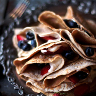 Gluten Free Crepes with Whipped Vanilla Protein Creme and Summer Fresh Berries